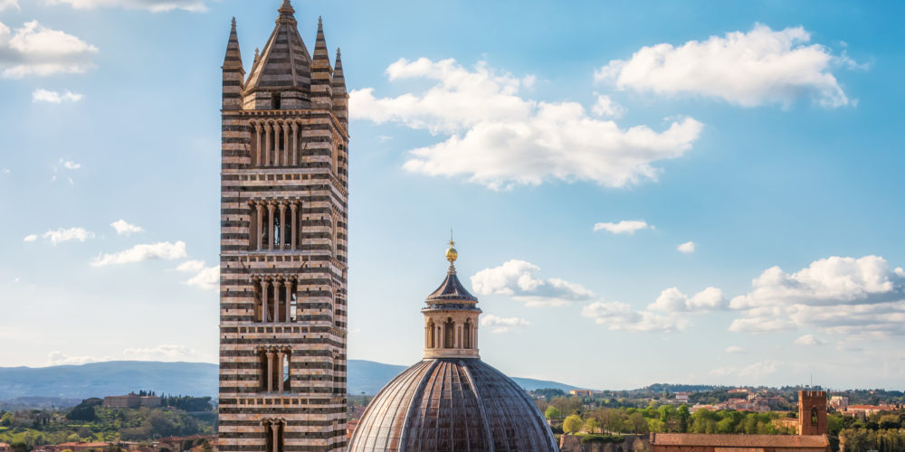 Aerial view over Siena Cathedral, Tuscany region, Italy