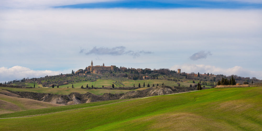The Val d'Orcia in Tuscany Italy with the medieval village of Pienza